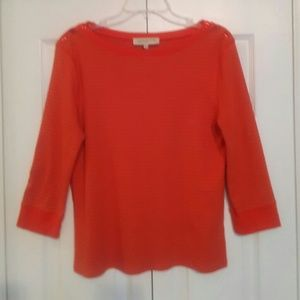 JONES NY BOAT NECK RED KNIT TOP 3/4 SLEEVE PXL